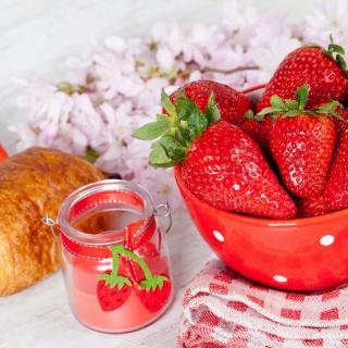 Strawberry, jam and croissant - Obrázkek zdarma pro 208x208