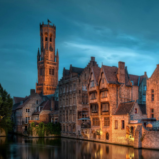 Bruges city on canal - Obrázkek zdarma pro 128x128