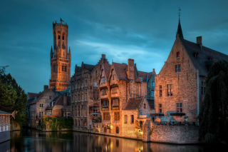 Bruges city on canal Background for Android, iPhone and iPad