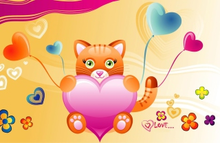 Love Kitten Valentine Background for Android, iPhone and iPad