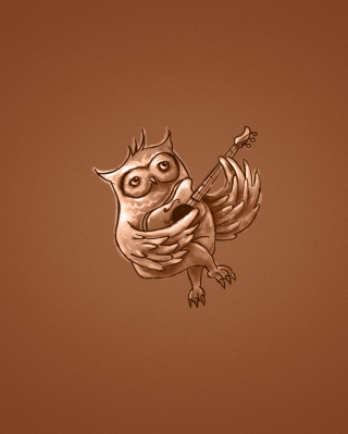 Funny Owl Playing Guitar Illustration - Obrázkek zdarma pro iPhone 4