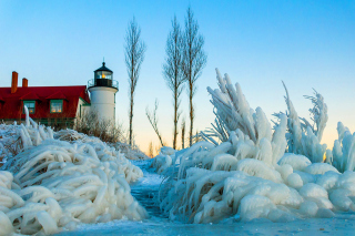Winter Frozen Lighthouses Picture for Android, iPhone and iPad