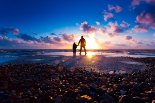Free Father And Son On Beach At Sunset Picture for Android, iPhone and iPad