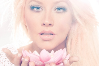 Free Christina Aguilera With Lotus Picture for Android, iPhone and iPad