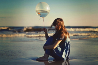 Girl With Balloon On Beach Wallpaper for Android, iPhone and iPad