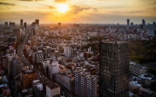 Sunset Over Tokyo Background for Android, iPhone and iPad