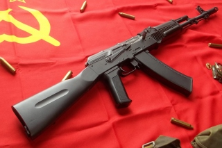 AK47 Assault Rifle and USSR Flag - Obrázkek zdarma pro Samsung Galaxy S6 Active