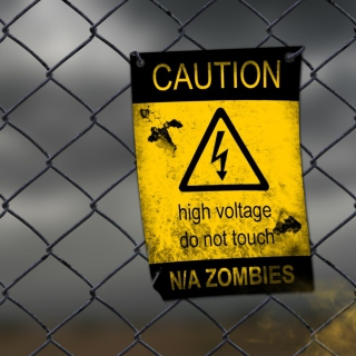 Caution Zombies, High voltage do not touch - Obrázkek zdarma pro 208x208