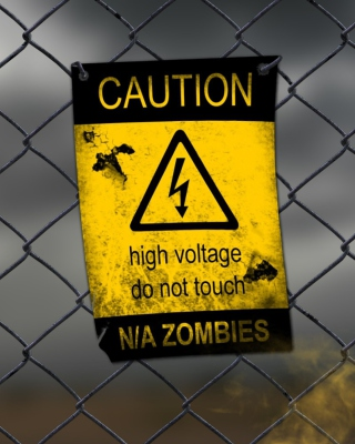 Caution Zombies, High voltage do not touch - Obrázkek zdarma pro Nokia 300 Asha