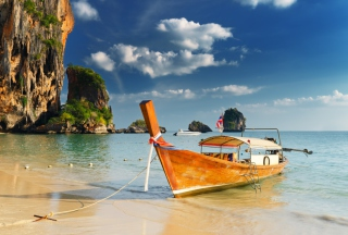 Boat On Beach Wallpaper for Android, iPhone and iPad