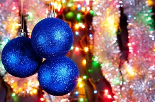 Blue Christmas Tree Balls Background for Android, iPhone and iPad