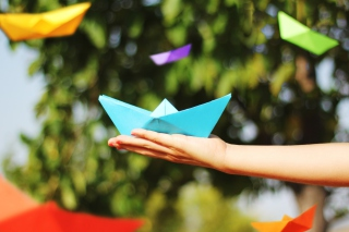 Free Blue Origami Boat Picture for Android, iPhone and iPad