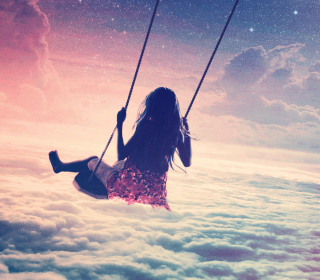 Girl On Swing Above Cloudy Sky - Obrázkek zdarma pro iPad Air