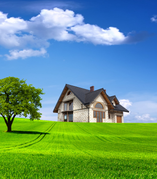 Stone house in village - Obrázkek zdarma pro 320x480