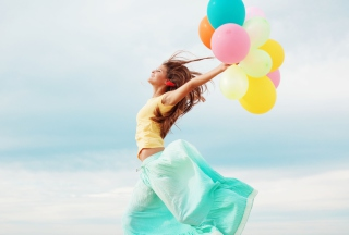 Girl With Colorful Balloons Wallpaper for Android, iPhone and iPad
