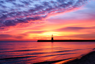 Lighthouse And Red Sunset Beach - Obrázkek zdarma pro 1920x1408