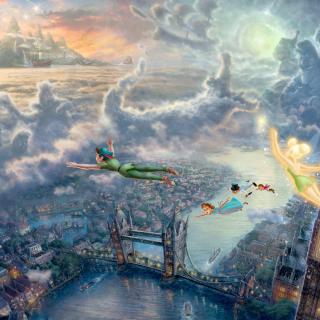 Thomas Kinkade, Tinkerbell And Peter Pan - Obrázkek zdarma pro 208x208