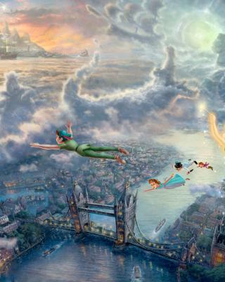 Thomas Kinkade, Tinkerbell And Peter Pan - Obrázkek zdarma pro Nokia Lumia 820