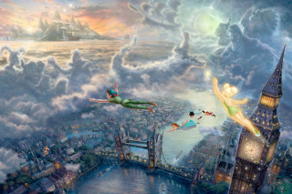 Thomas Kinkade, Tinkerbell And Peter Pan - Obrázkek zdarma pro HTC EVO 4G