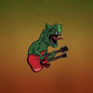Dinosaur And Guitar Illustration - Obrázkek zdarma pro 1024x1024