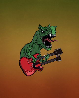 Dinosaur And Guitar Illustration - Obrázkek zdarma pro Nokia Lumia 810