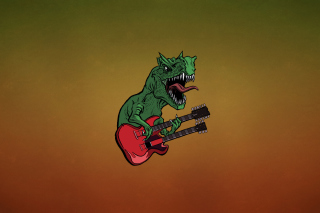 Dinosaur And Guitar Illustration - Obrázkek zdarma pro LG P500 Optimus One
