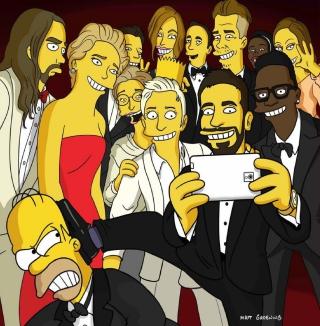 Simpsons Oscar Selfie - Obrázkek zdarma pro iPad