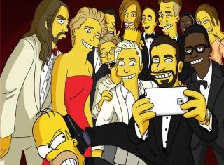 Simpsons Oscar Selfie - Obrázkek zdarma pro 480x360