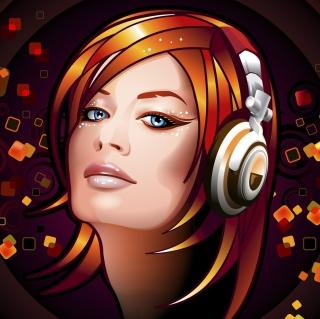 Headphones Girl Illustration - Obrázkek zdarma pro 1024x1024