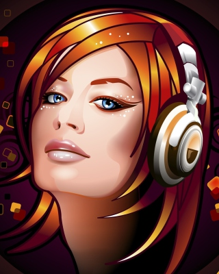 Headphones Girl Illustration Picture for 480x854