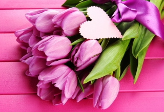 Pink Tulips Bouquet And Paper Heart Background for Android, iPhone and iPad