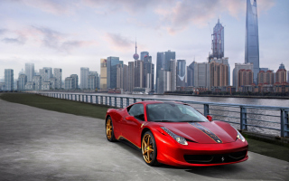Ferrari In The City Picture for Android, iPhone and iPad