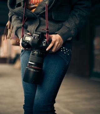 Girl With Photocamera - Obrázkek zdarma pro 128x160