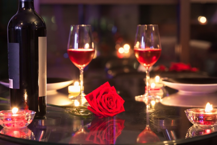 Romantic evening with wine wallpaper