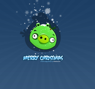 Green Piggi Merry Chirstmas - Obrázkek zdarma pro iPad mini