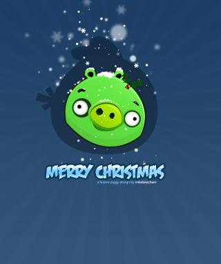 Green Piggi Merry Chirstmas - Obrázkek zdarma pro Nokia Asha 308