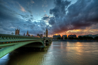 Westminster bridge on Thames River - Obrázkek zdarma pro Widescreen Desktop PC 1280x800