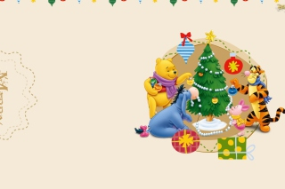 Winnie The Pooh Christmas Background for Android, iPhone and iPad