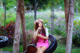 Free Pretty Asian Girl In Pink Dress And Flower Wreath Picture for Android, iPhone and iPad