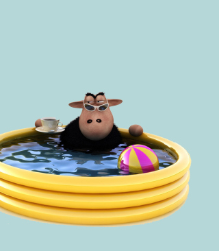 Sheep In Pool - Obrázkek zdarma pro 360x480