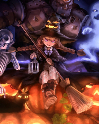 Ghost, skeleton and witch on Halloween - Obrázkek zdarma pro 240x400