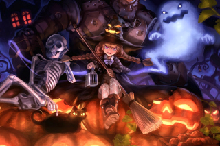 Ghost, skeleton and witch on Halloween - Obrázkek zdarma pro Android 720x1280