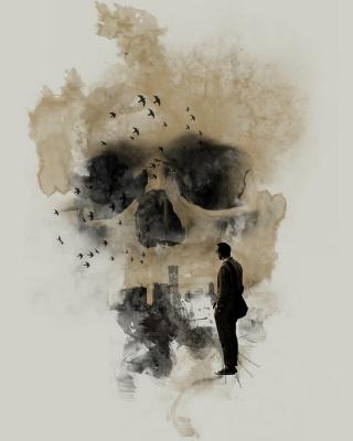 Man Looking At Skull City - Obrázkek zdarma pro Nokia 206 Asha