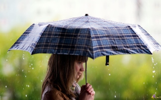 Girl With Umbrella Under The Rain Wallpaper for Android, iPhone and iPad