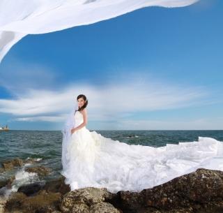 Cute Asian Girl Bride - Obrázkek zdarma pro 128x128
