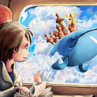 Fantasy Boy and Whale - Obrázkek zdarma pro iPad
