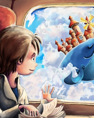 Fantasy Boy and Whale - Obrázkek zdarma pro Nokia Lumia 810