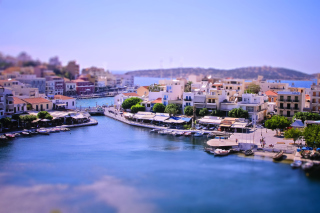 Tilt shift Photo Bay in Greece Wallpaper for Android, iPhone and iPad