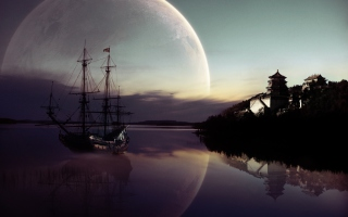 Fantasy Ship Moon Reflection Wallpaper for Android, iPhone and iPad