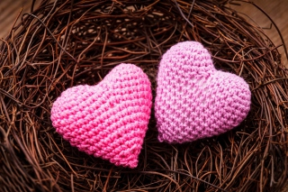 Knitted Pink Heart Background for Android, iPhone and iPad